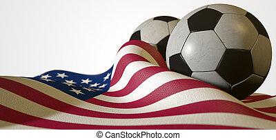 American Flag And Soccer Ball