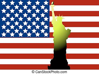 American flag and Statue of Liberty