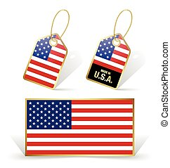 American flag and tags