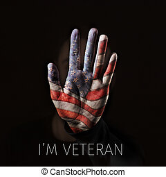 American flag and text I am veteran