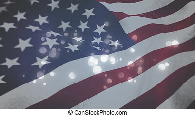 American flag and twinkling lights - Digital animation of an...