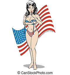 American Flag Background Sexy Girl