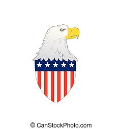 American Flag Badge Shield with eagle facing side with American stars and stripes flag on isolated white background.