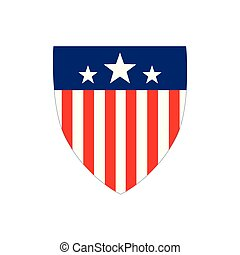 American Flag Badge Shield with stripes and stars, Independence Day Concept, Vector illustration isolated on white background