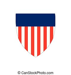 American Flag Badge Shield with stripes, Independence Day Concept, Vector illustration isolated on white background