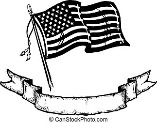 American Flag & Banner - An illustration of the American...