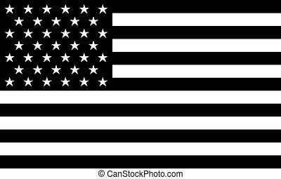AMERICAN FLAG Black and white Vector