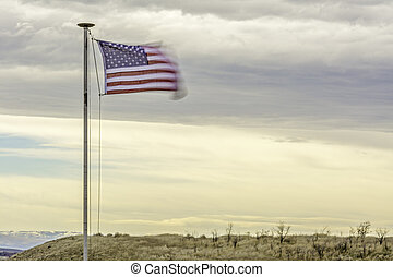 American flag blows in the wind