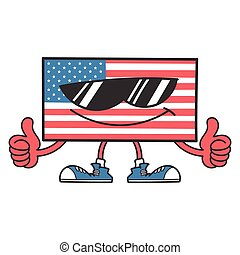 american flag cartoon with sunglasses giving thumbs up