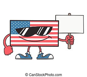 american flag cartoon with sunglasses holding