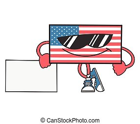 american flag cartoon with sunglasses leaning on sign