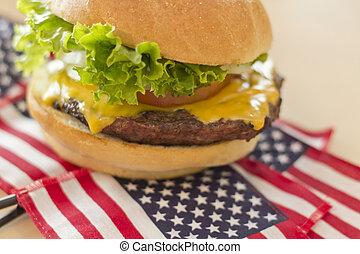 American Flag Cheeseburger