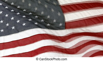 American flag close up slow motion