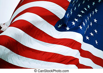 American Flag Closeup - Old Glory waving in the wind