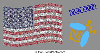 American Flag Collage of Bee and Grunge Bug Free Stamp