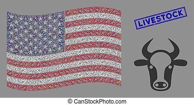 American Flag Collage of Cow Head and Scratched Livestock Stamp