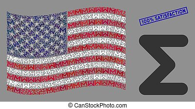American Flag Collage of Sum and Scratched 100% Satisfaction Stamp