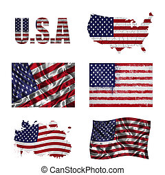 American flag collage - USA flag and map in different styles...