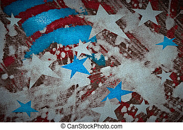 American flag colors painted on canvas symbolizing 4th of...