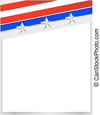 American flag corner frame on white blank background