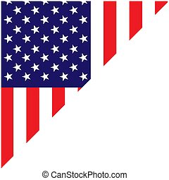 american flag corner frame with empty space