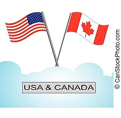 American flag crossed with Canadian flag - A pair of crossed...