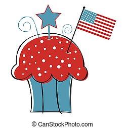 American Flag Cupcake