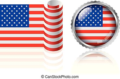 American flag design, badges and flags set.