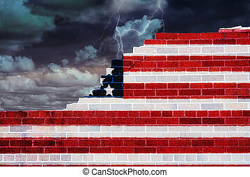 American flag design on broken brick wall