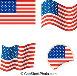 American flag design,badges and flags set.