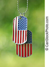 American flag dog tags hanging outside