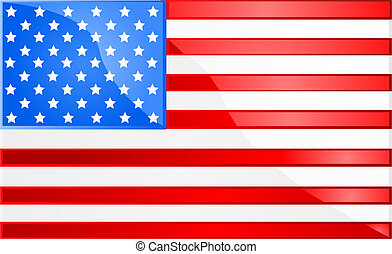 American flag - Glossy illustration of the flag of the...