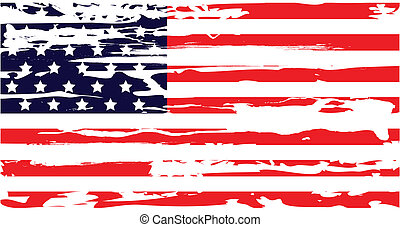 American Flag Dry Brush - American flag dry brush grunge...