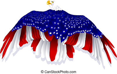 American Flag Eagle - a bald eagle decorated with the...