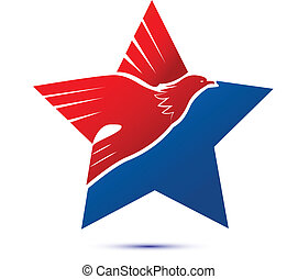 American flag-eagle star logo vector