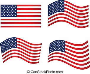American Flag. Patriotic background. Vector illustration....
