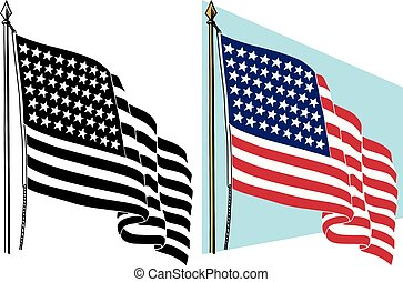 American Flag - The American flag waving in the wind