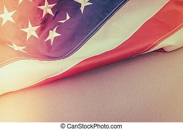 American flag ( Filtered image processed vintage effect. ) ....