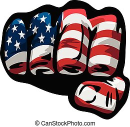 American Flag Fist Isolated Vector Illustration - Very cool ...