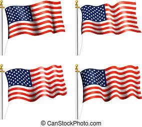 American Flag Flat Waving - American Flag on Flag Pole