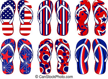 Set of fun Flip flops with American flag related designs
