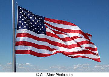American flag flying