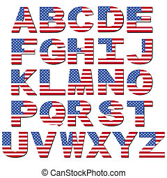 American flag font isolated on white illustration