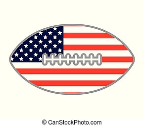A foot ball shape decorated with an American flag filler.