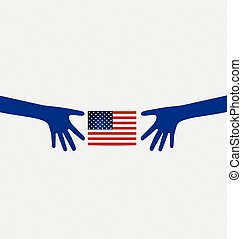 American Flag for Independence Day. Vector illustration.