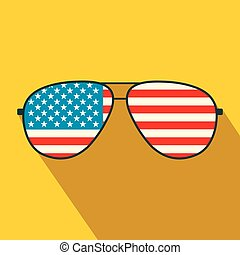 American flag glasses flat icon