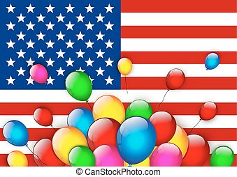 American flag greeting with balloons