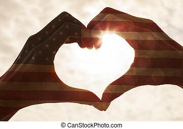 American Flag Hand Heart Sunrise Sunset