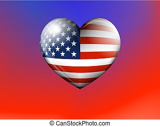 American Flag Heart Background