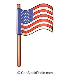 American flag icon, cartoon style